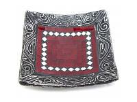 Блюдо терракотовое с красной мозаикой (20,5х20,5х6 см) ( 30276)