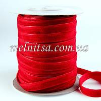 Лента бархатная 1 см, цвет т.красный