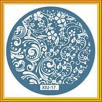 Диск для Стемпинга Металлический Круглый XIU-17 Орнамент Цветы Растения для Ногтей
