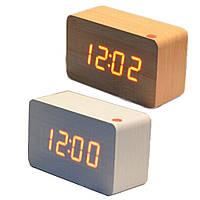 Электронные настольные часы под дерево 1295 (подсветка: красная)