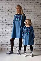 Джинсовое модное платье с уникальной вышивкой