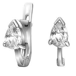 Сережки зі срібла з куб. цирконіями 177134