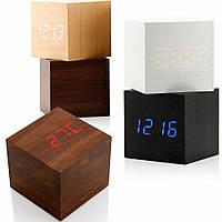 Электронные настольные часы под дерево 1293 (подсветка: красная)