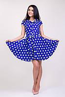 Красивое платье рубашка солнце клеш в горошек