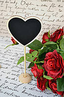 Декоративна дощечка для написів Серце 19*7,5 см Меловая доска