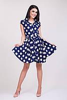 Летнее женское синее платье в белый горох
