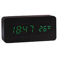 Электронные настольные часы под дерево 1299 (подсветка: зелёная)
