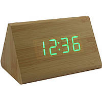 Электронные настольные часы под дерево 1300 (подсветка:зелёный)