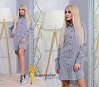 Платье- рубашка  Ткань Котон вставка кружево  С и М (21027)