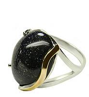 Женское серебряное кольцо с золотыми пластинами Аксения.