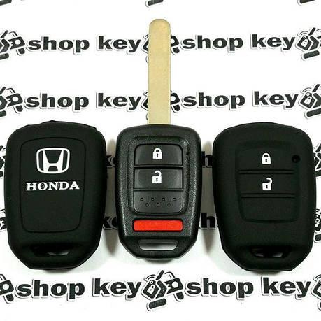 Чехол (черный, силиконовый) для авто ключа Honda (Хонда) 2 кнопки + 1, фото 2