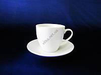 Чашка белая чайная с блюдцем Надежда 175 мл. (6 шт. в уп.)