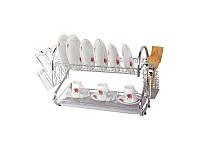 Сушилка для посуды двухъярусная с поддоном Kamille KM 0766A (680*255*395)