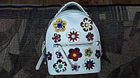Подростковый рюкзак белый+красный в цветах