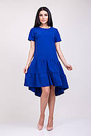 Вечернее платье с воланами синего цвета