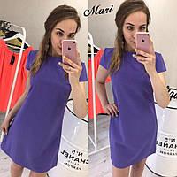Модное платье из ткани барби костюмка  (цвет сирень)