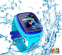 Q100 Aqua Детские Умные Часы с GPS водонепроницаемые (DF25) Голубой