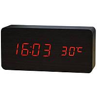 Купить оптом Электронные настольные часы под дерево 1299 (подсветка: красная)