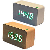 Купить оптом Электронные настольные часы под дерево 1292 (подсветка: зелёный)