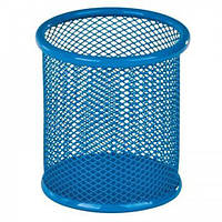 Подставка для ручок кругла 90х90х100мм, металева, синій