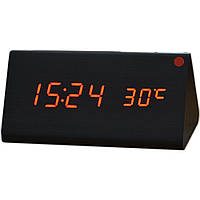 Купить оптом Электронные настольные часы под дерево 1301 (подсветка: красный)