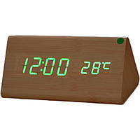 Купить оптом Электронные настольные часы под дерево 1301 (подсветка: зелёный)