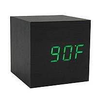 Купить оптом Электронные настольные часы под дерево 1293 (подсветка: зелёная)