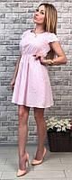 Повседневное женское платье приталенного фасона в полоску с кружевными рукавами и аппликацией коттон Турция