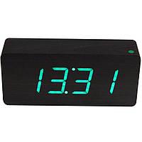 Электронные настольные часы под дерево 1292 (подсветка: зелёный)