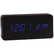Электронные настольные часы под дерево 1299 (подсветка: синяя)