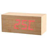 Электронные настольные часы под дерево 1298 (подсветка: красный)