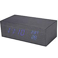 Электронные настольные часы под дерево 1298 (подсветка: синий)