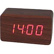Электронные настольные часы под дерево 1294 (подсветка: красная)