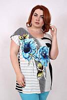 Женская летняя футболка-туника с ярким принтом ЦВЕТОК 523 ТМ Ирмана 52-58 размеры