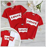 Family look парные футболки Levis для всей семьи комплект мама+папа+ребенок