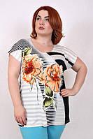 Батальная женская футболка-туника с ярким принтом ЦВЕТОК 523 ТМ Ирмана 52-58 размеры