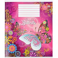 """Тетрадь цветная 18 листов, линия """"Ажурные бабочки"""""""