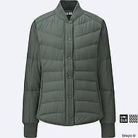 Женская оливковая легкая куртка бомбер на пуху японского бренда  Uniqlo (пакуется в мешочек), фото 1