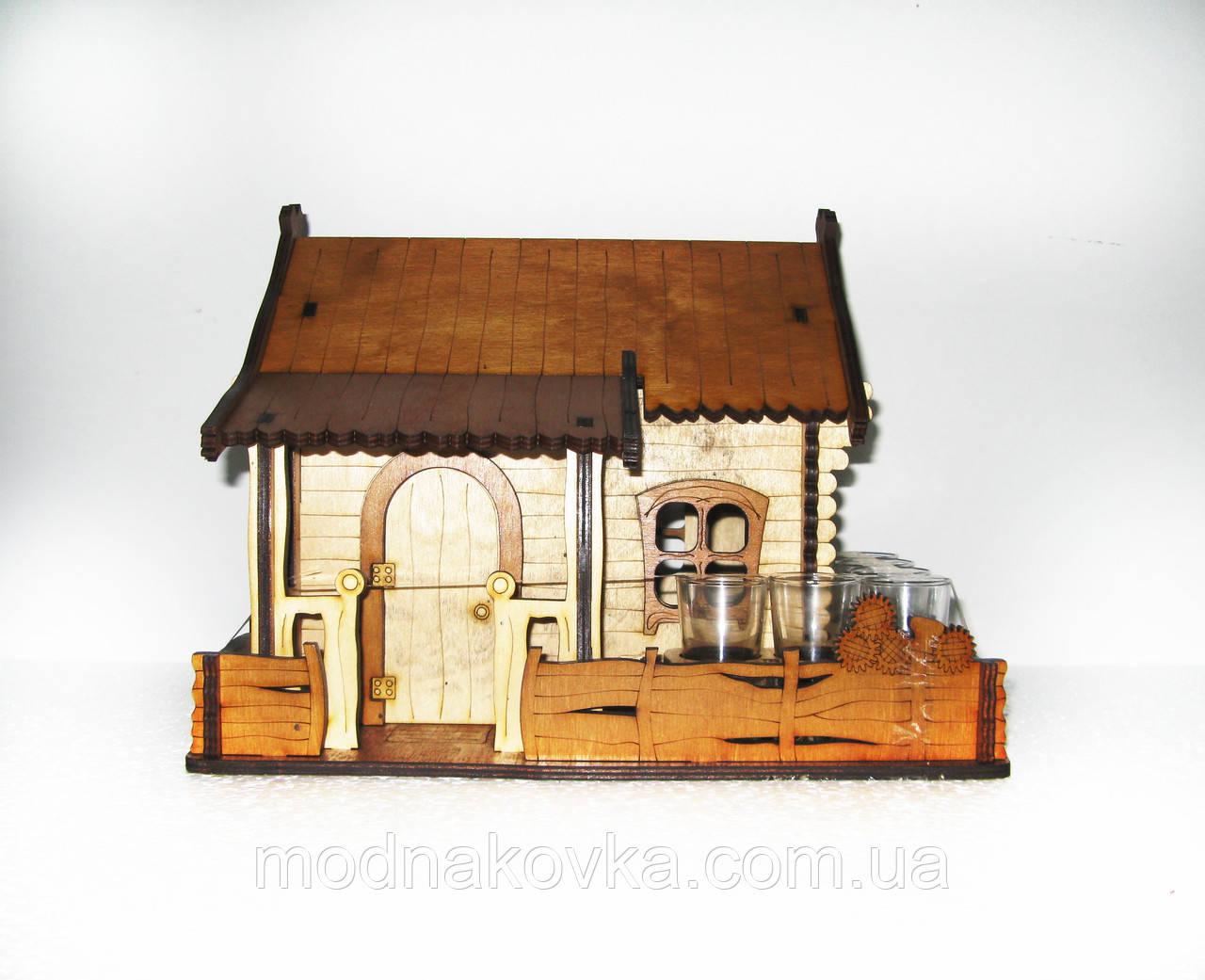 Мини-бар с рюмками деревянный Домик