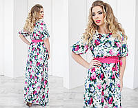Модное длинное платье в цветы