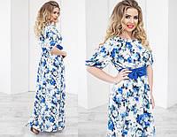 Красивое длинное платье в цветы