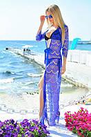 Туника пляжная женская в пол  из французского кружева, фото 1