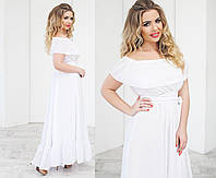 Шикарное белое длинное платье для женщин
