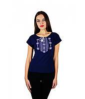 Жіноча футболка темно-синього кольору. Футболка
