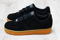 Кроссовки мужские Nike Air Force черные , замшевые ( топ реплика )