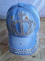 Кепка джинсовая камни корона