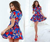 Платье синее с красными цветами
