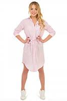 Платье-рубашка с кулисой полоска розовая S-L размеры SV 17-32-13p