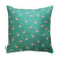"""Подушка """"Фламинго"""" зеленая"""