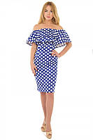 Платье футляр-рюша горох электрик S-L размеры SV 17-29-2g